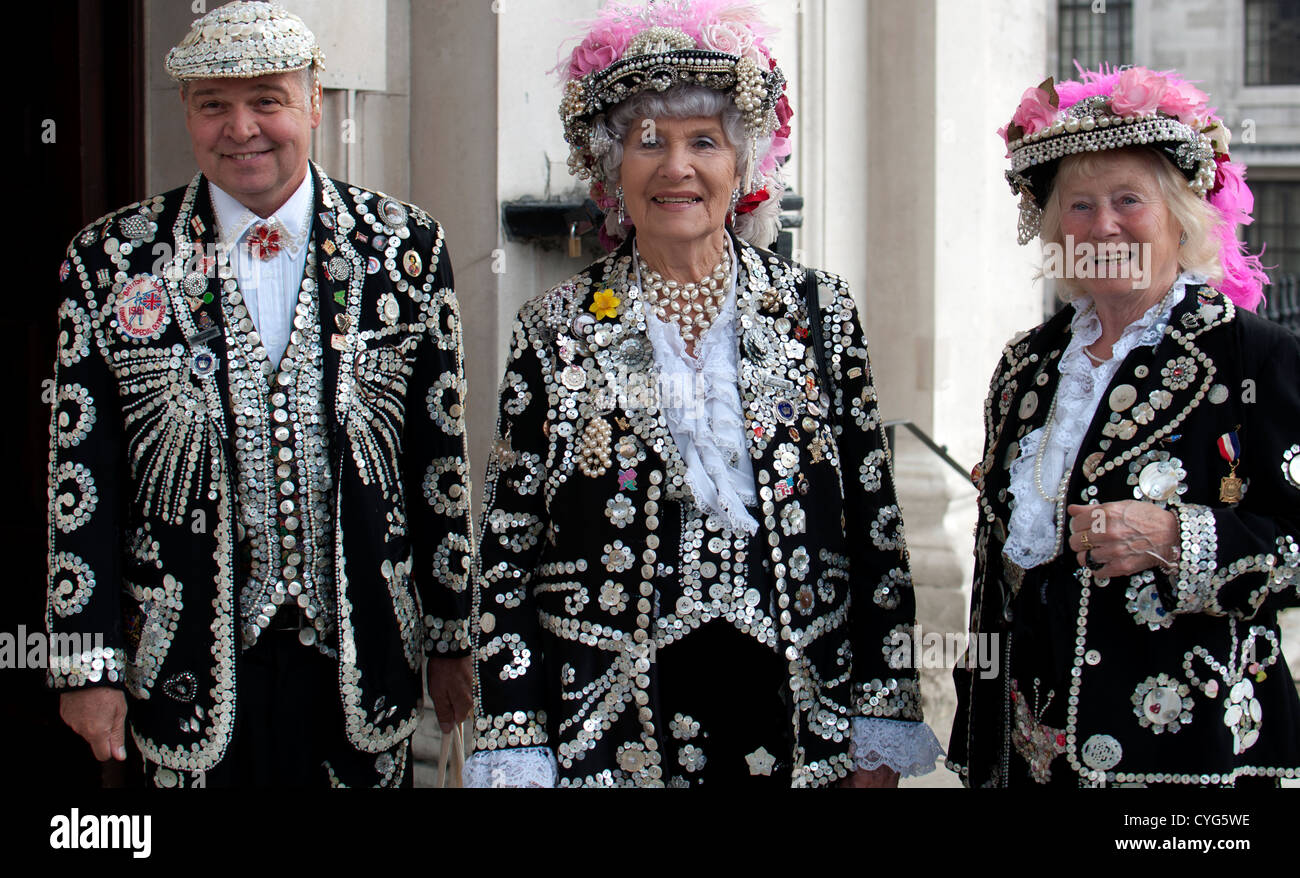 Pearly King and Pearly Queens of London - Stock Image