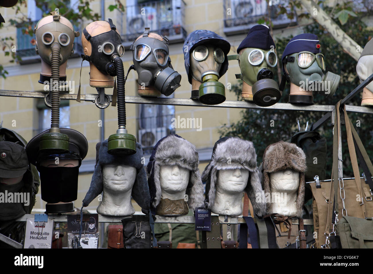 army surplus gas masks hats for sale pavement street stall el