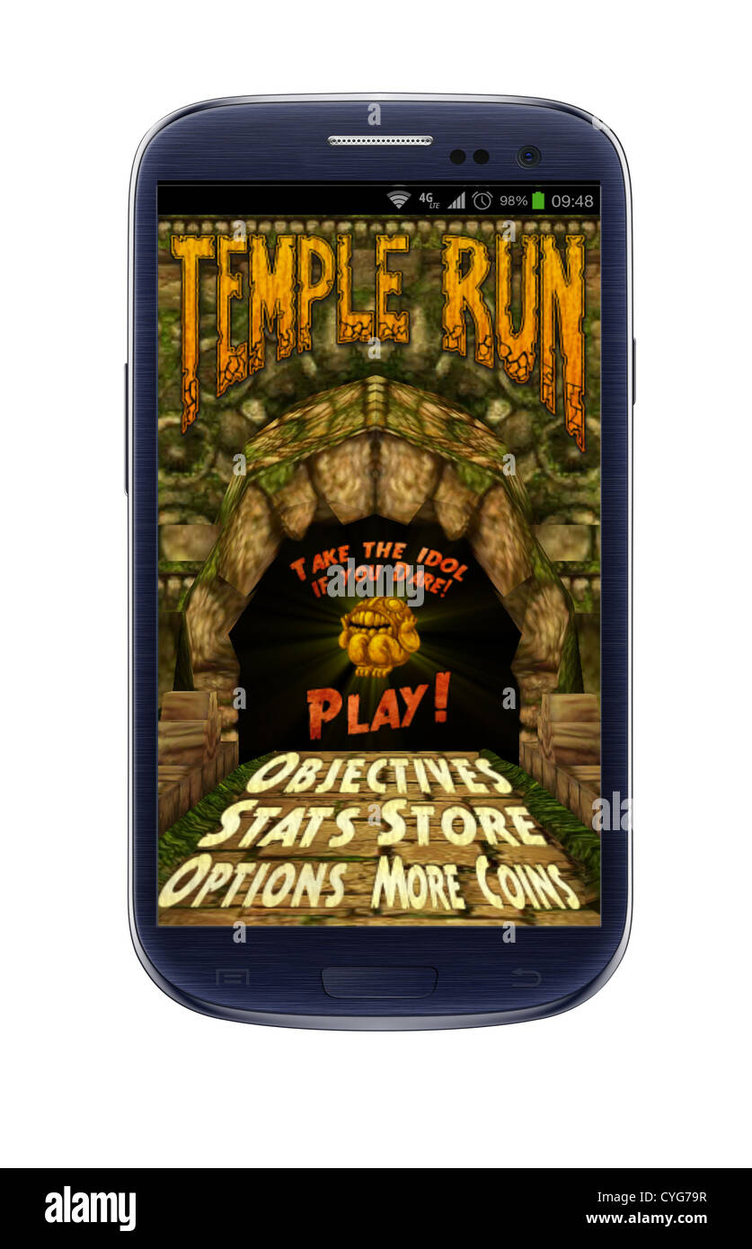 temple run game on a mobile phone - Stock Image