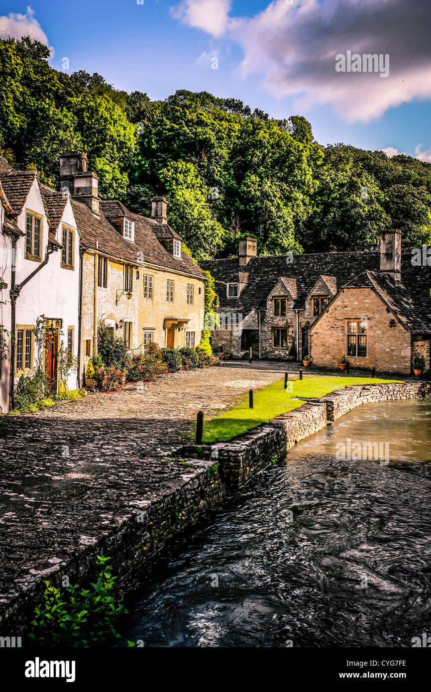 Castle Combe in Wiltshire - said to be the prettiest village in England - Stock Image