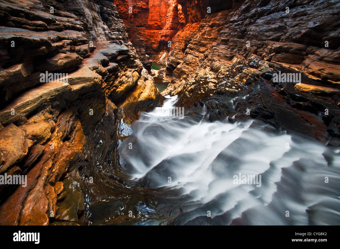 Water is running through narrow Hancock Gorge. - Stock Image