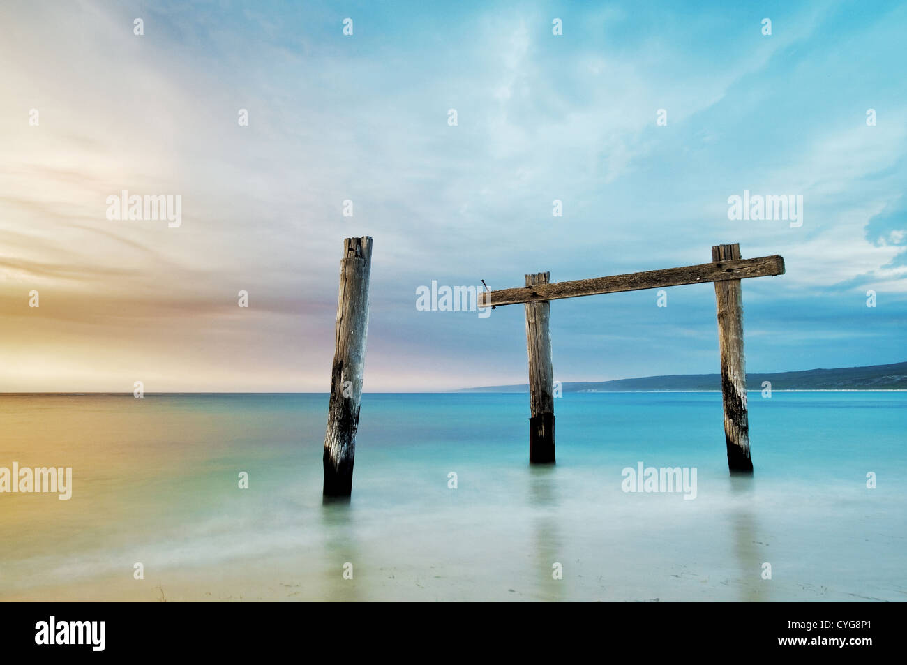 Remains of old jetty in Hamelin Bay. - Stock Image