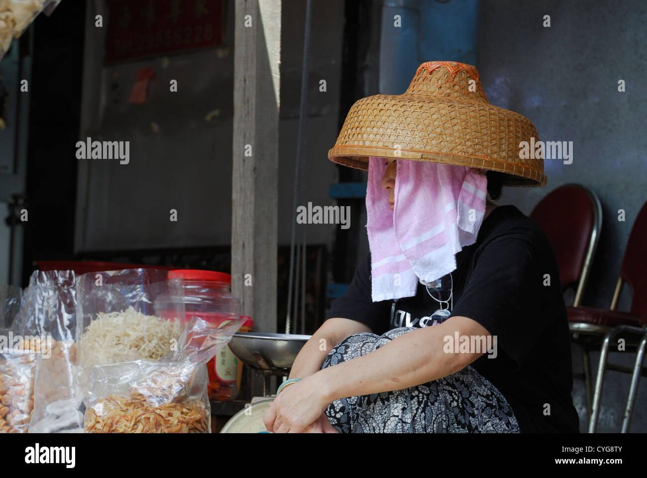 Tai O food market vendor Lantau Island Hong Kong, China. - Stock Image