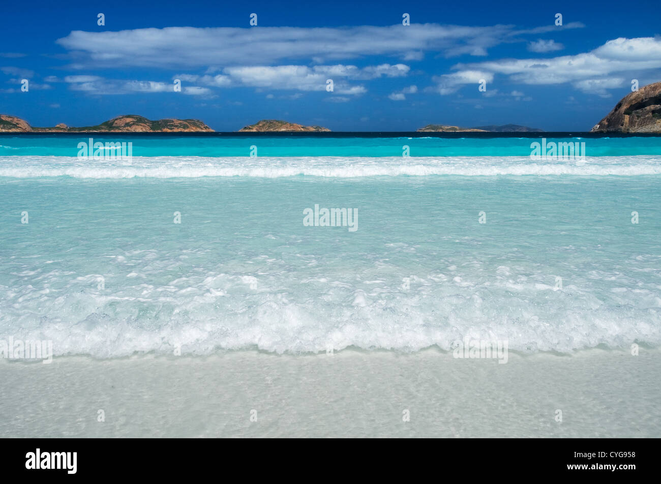 Turquoise Waters in Lucky Bay. - Stock Image