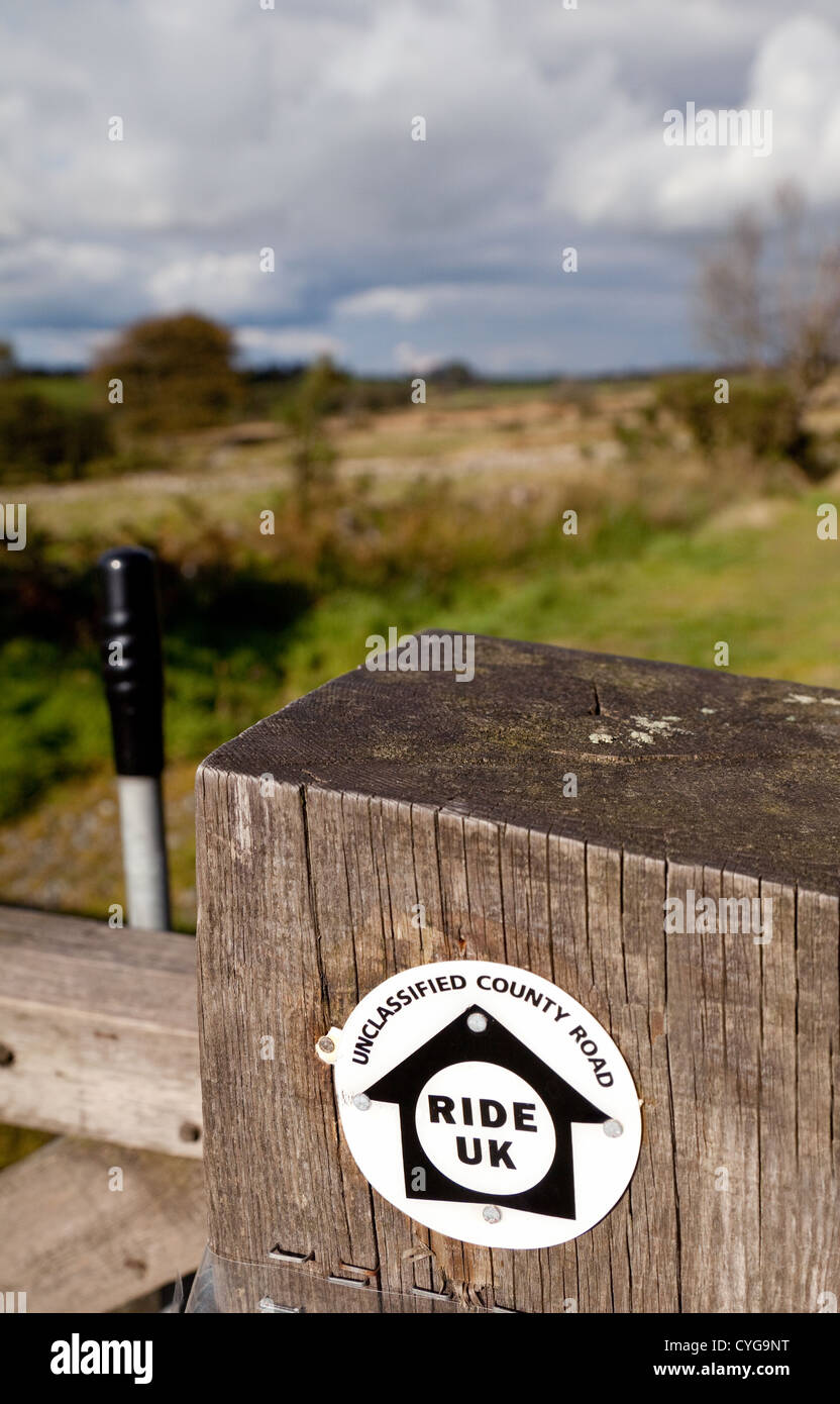 'Ride UK' bridleway path signs in the Shropshire countryside near the Stiperstones, England UK - Stock Image
