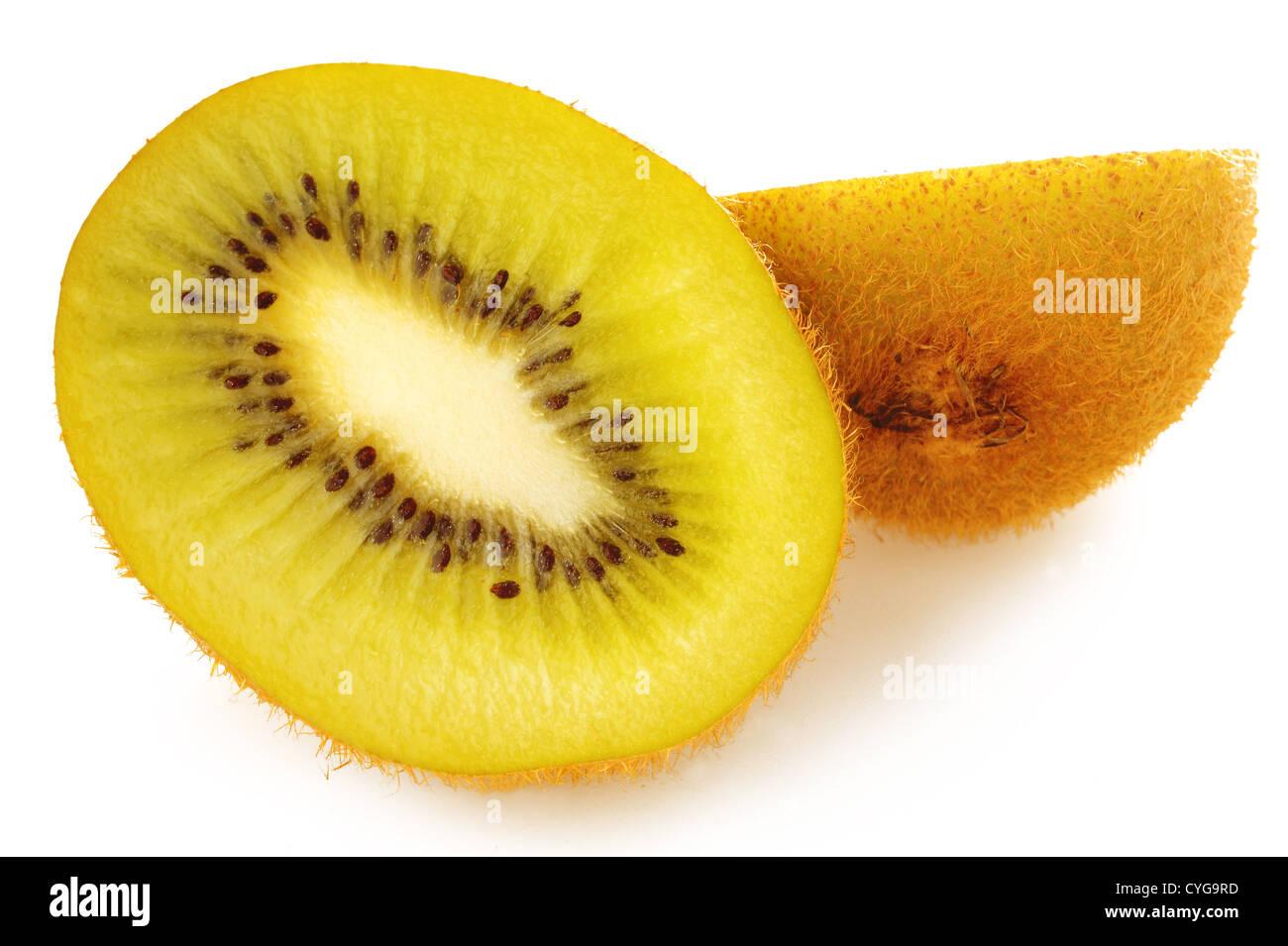 Gold kiwi fruit on a white background - Stock Image