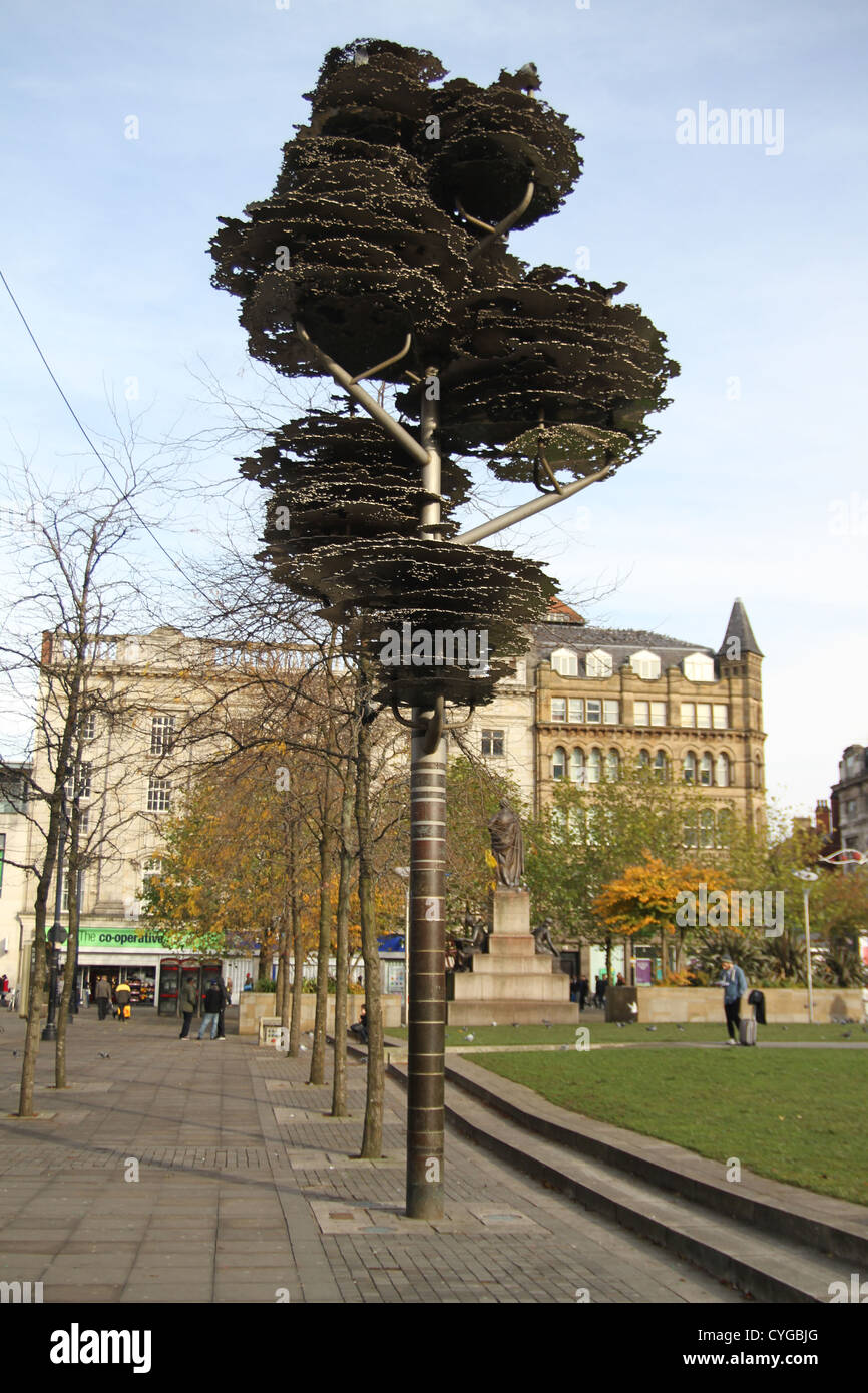 Tree of Remembrance in Piccadilly Gardens, Manchester, England. It is a memorial to the civilians of Manchester - Stock Image
