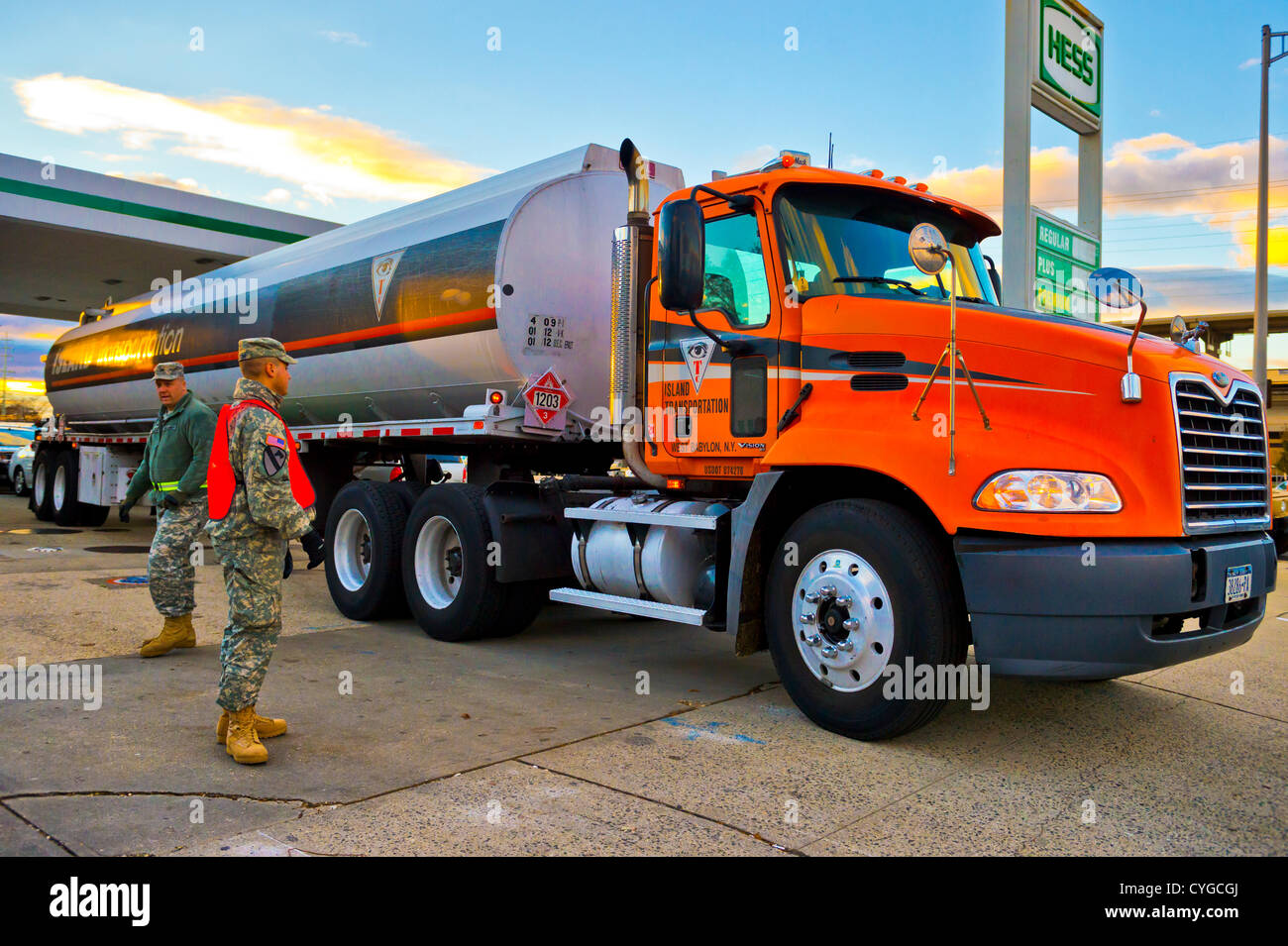 Nov. 3, 2012 - Merrick, New York, U.S. - A gas truck arrives at the Merrick Hess, one of the Long Island gas stations - Stock Image
