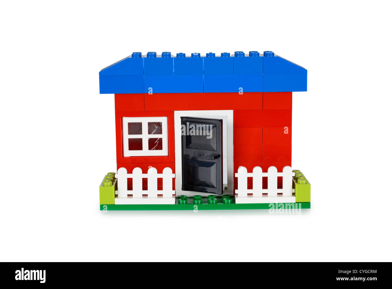 Toy House, built with Lego pieces - Stock Image