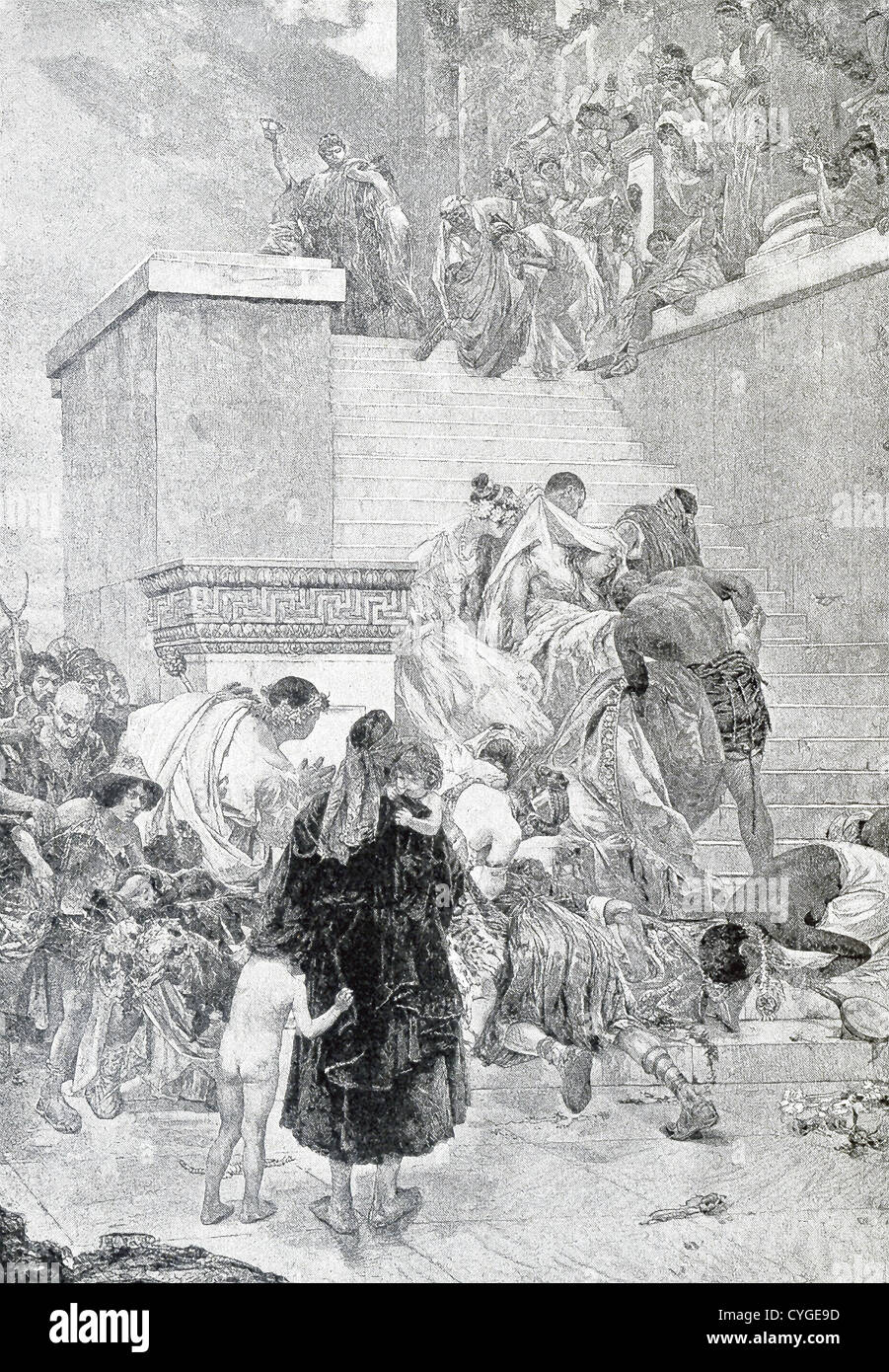 Rome's emperor Nero standing by the corpse of his dead mother Agrippina being carried up the stairs. - Stock Image