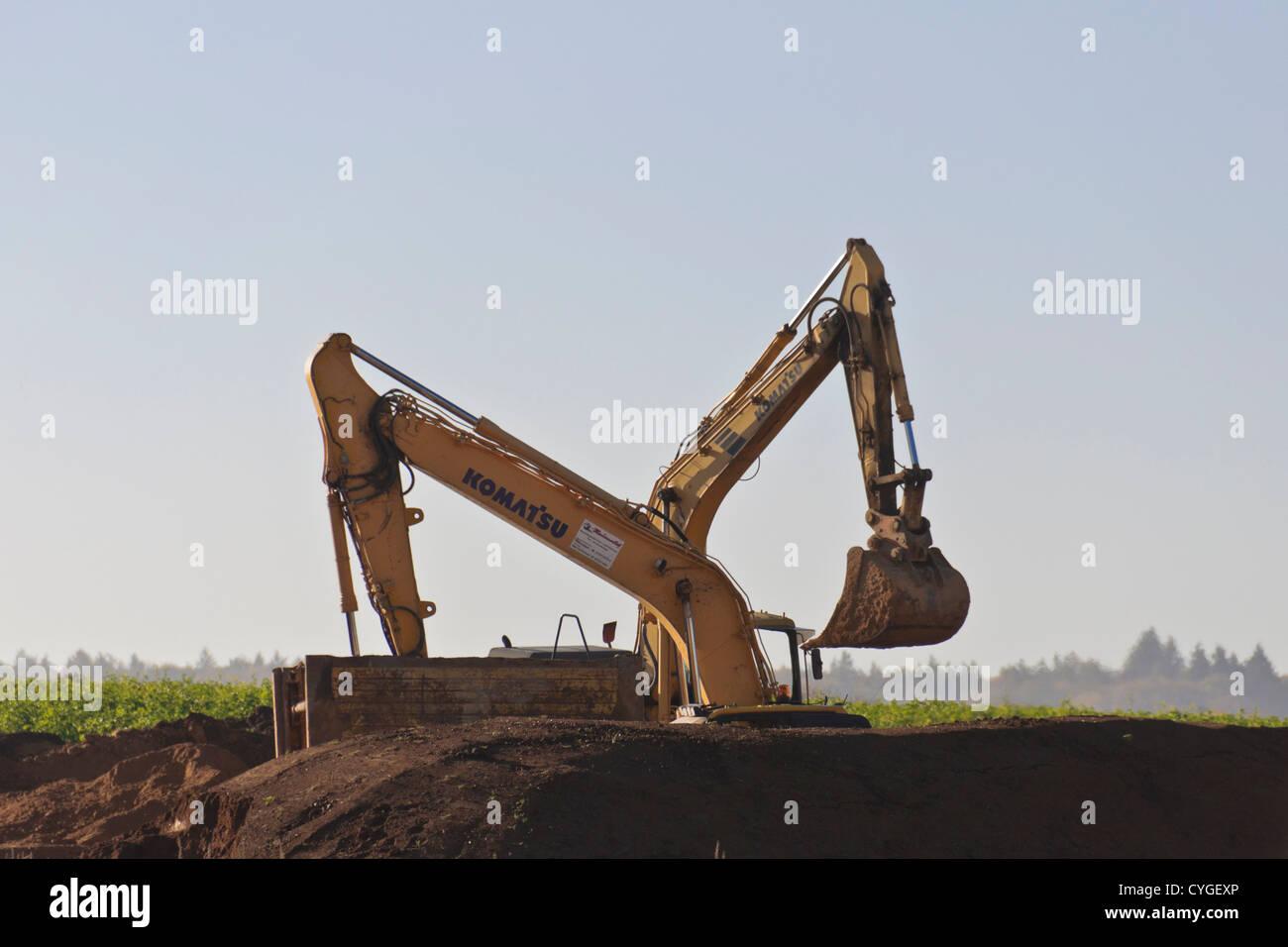 Two bucket excavators - Stock Image