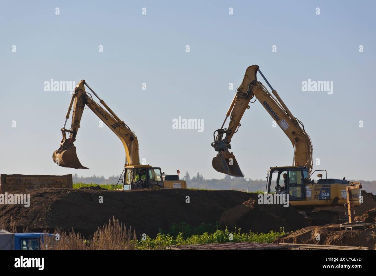 Two bucket excavators Stock Photo