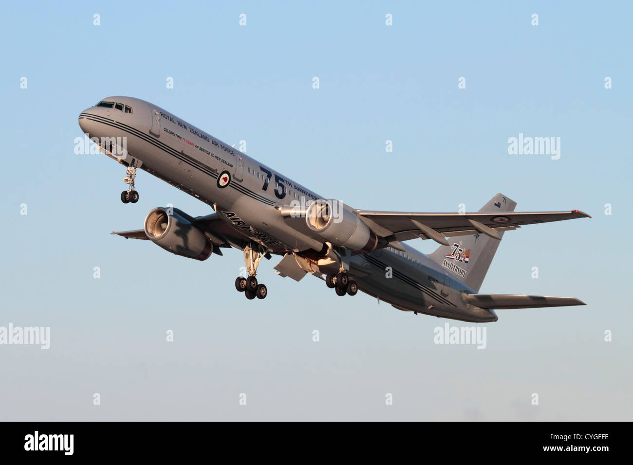 Royal New Zealand Air Force Boeing 757-200 VIP transport with 75th anniversary markings - Stock Image