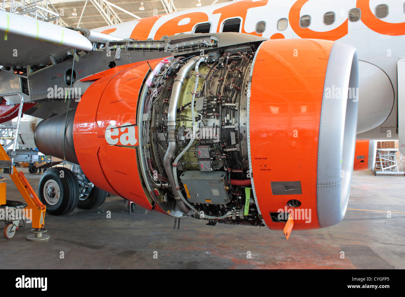CFM56 turbofan jet engine on an easyJet Airbus A319 airliner under maintenance at SR Technics Malta - Stock Image