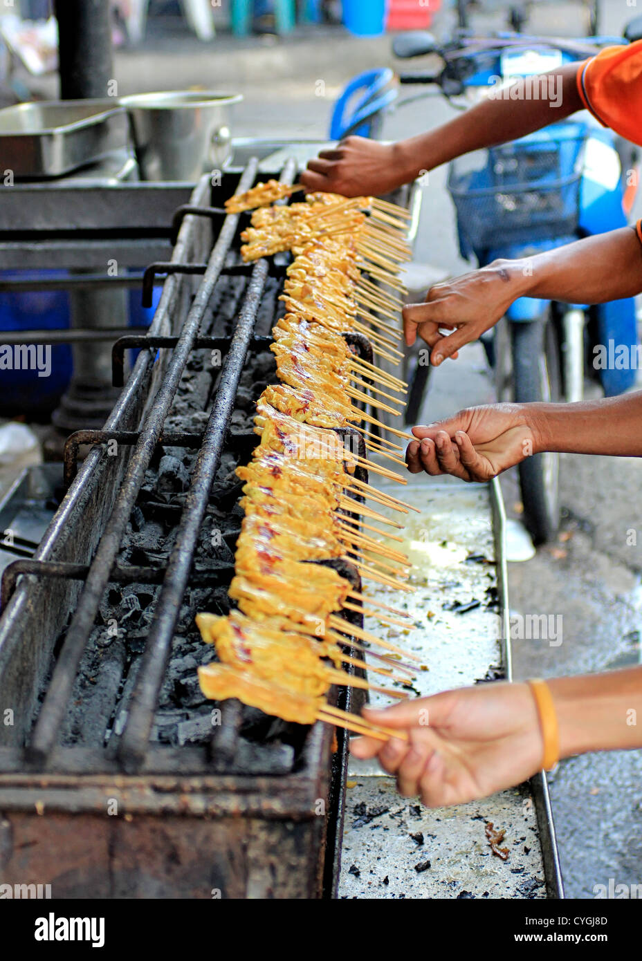 Delicious Pork Satay in Bangkok - Stock Image