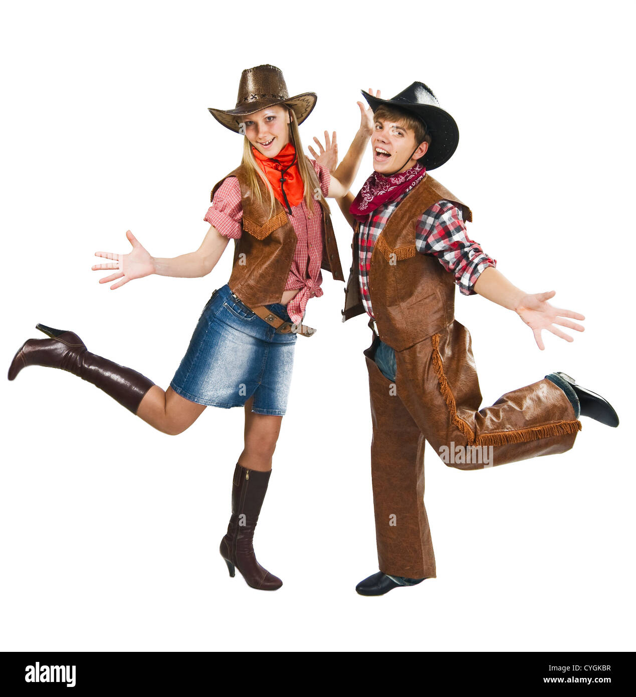 Cowboy with cowgirl happy excited couple dancing on white - Stock Image