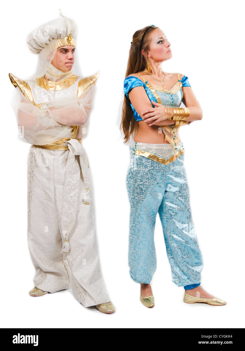 Aladdin and Jasmine - man and woman wearing costume of Arabian Nights prince and princess  sc 1 st  Alamy & Aladdin and Jasmine - man and woman wearing costume of Arabian ...