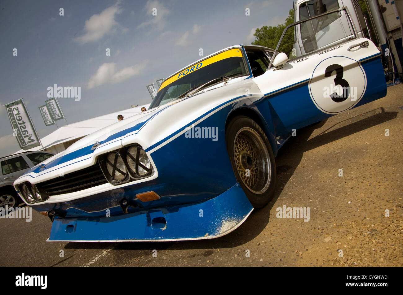 The front of a Ford Cologne Capri historic racing car. - Stock Image