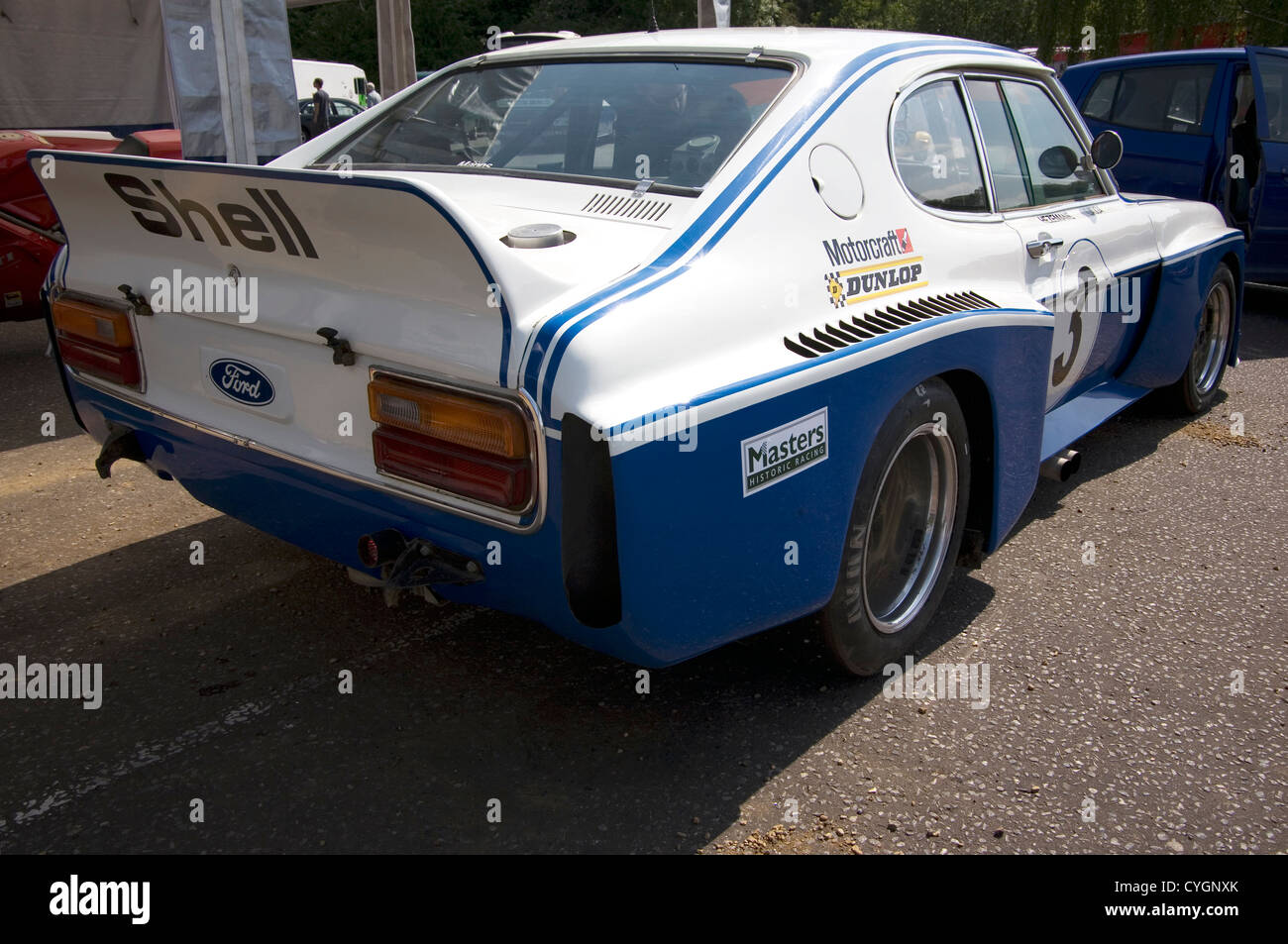 The back of a Ford Cologne Capri historic racing car. - Stock Image