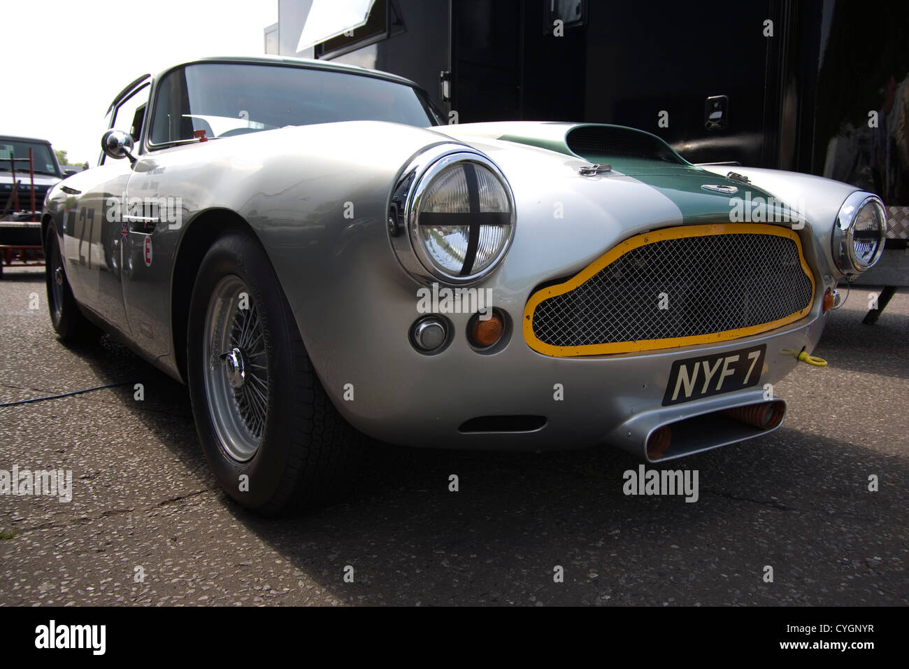 The Front Of A Classic Aston Martin Racing Car Stock Photo Alamy