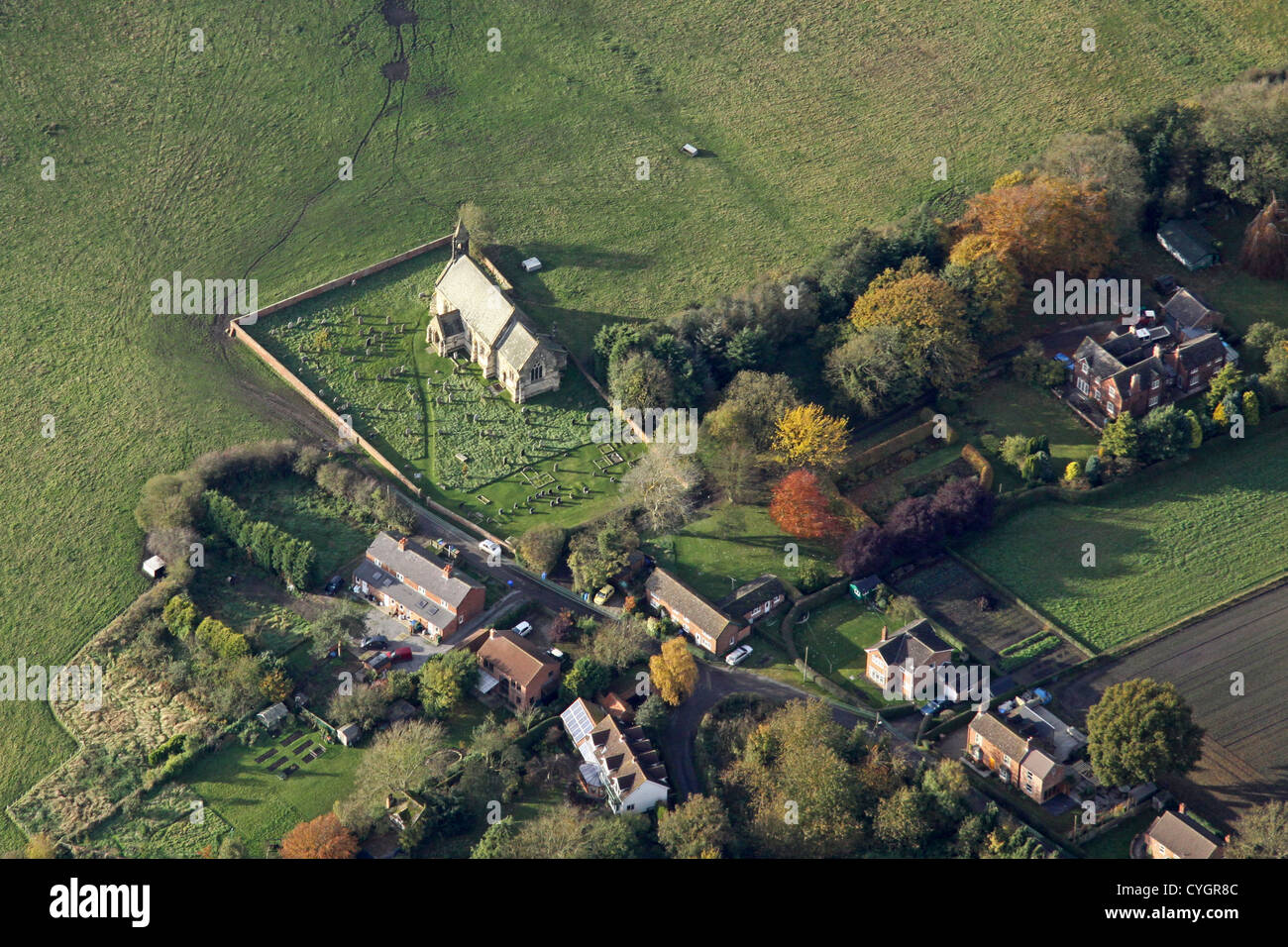 aerial view of Ellerton village and Ellerton Priory church, south of York - Stock Image
