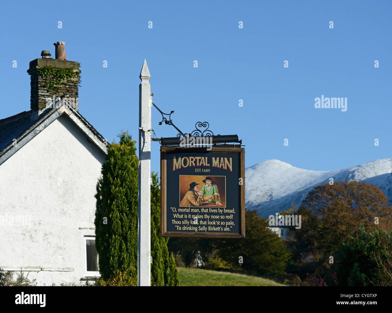 Inn sign, The Mortal Man Inn. Troutbeck, Lake District National Park, Cumbria, England, United Kingdom, Europe. - Stock Image