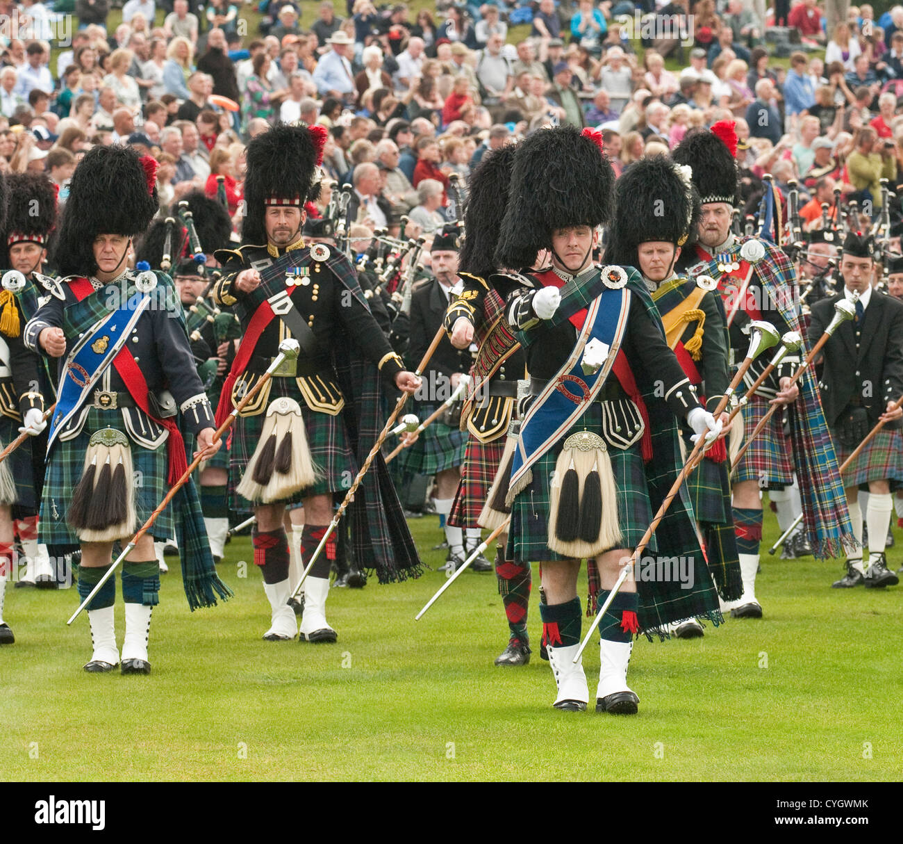 """Scottish Bands: Scottish Massed Pipe Bands Marching At The """"Braemar"""