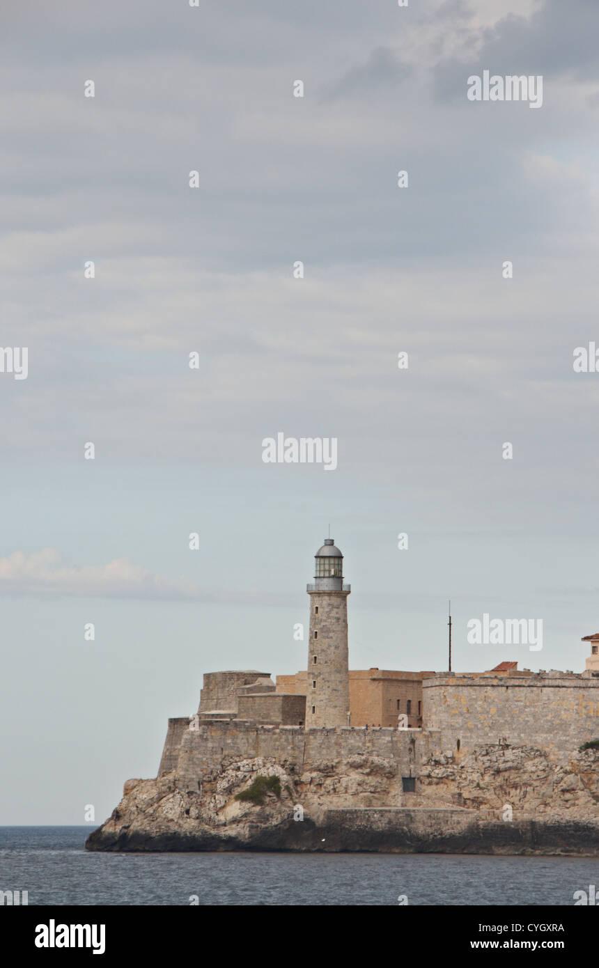 Portrait format of Castillo Del Morro, Carretera de la Cabana, lighthouse and fortress, Havana, Cuba. Designed by - Stock Image