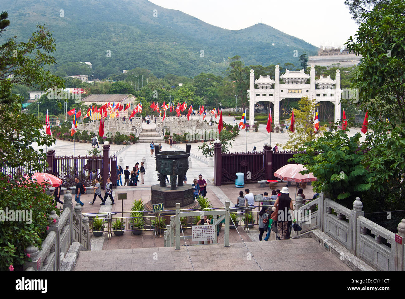 Gateway to Po Lin Monastery from the steps to the Tian Tan Buddha, Lantau Island, Hong Kong - Stock Image