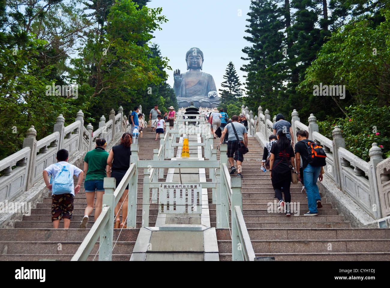 Tian Tan Buddha with 268 steps, Lantau Island, Hong Kong - Stock Image