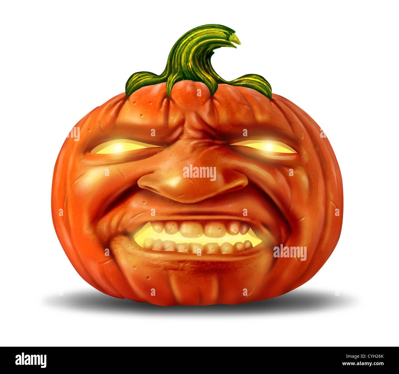 Scary Pumpkin Jack O Lantern With An Angry Devil Like Realistic Human Stock Photo Alamy