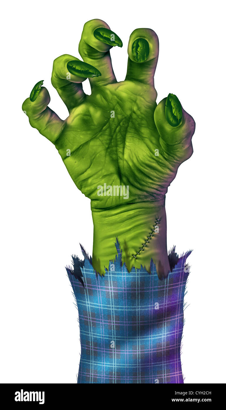 Zombie hand reaching to grab something or someone as a human like green monster hand with sharp nails and stitches - Stock Image