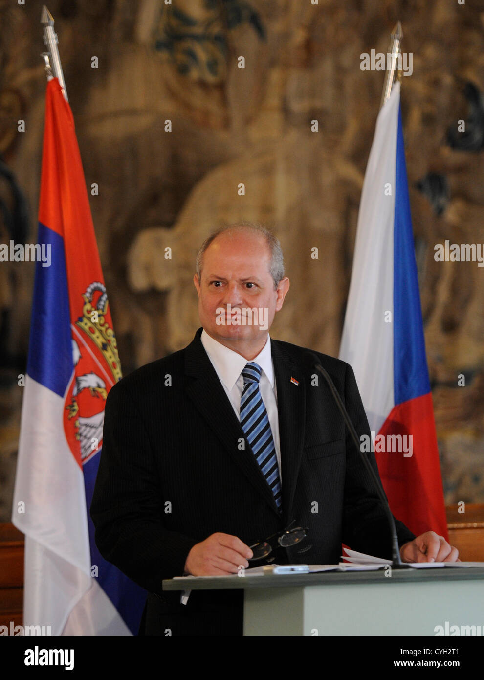 Serbian Foreign Minister Ivan Mrkic is seen during the news conference following talks with his Czech counterpart - Stock Image