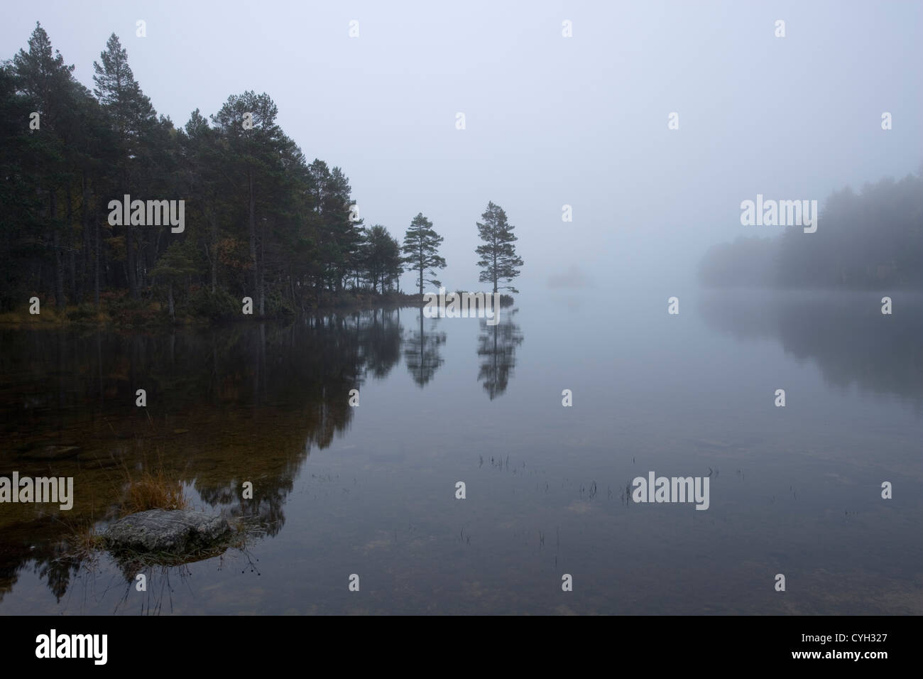 Misty morning at Loch Eilein, Scotland, UK. - Stock Image