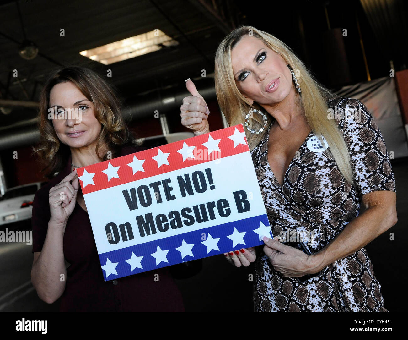 Award Winning Adult Actresses Rebecca Bardouxl And Amber Lynn Talk About Measure B At A Rally At Dejavu Strip Club In North Hollywood To Remind The