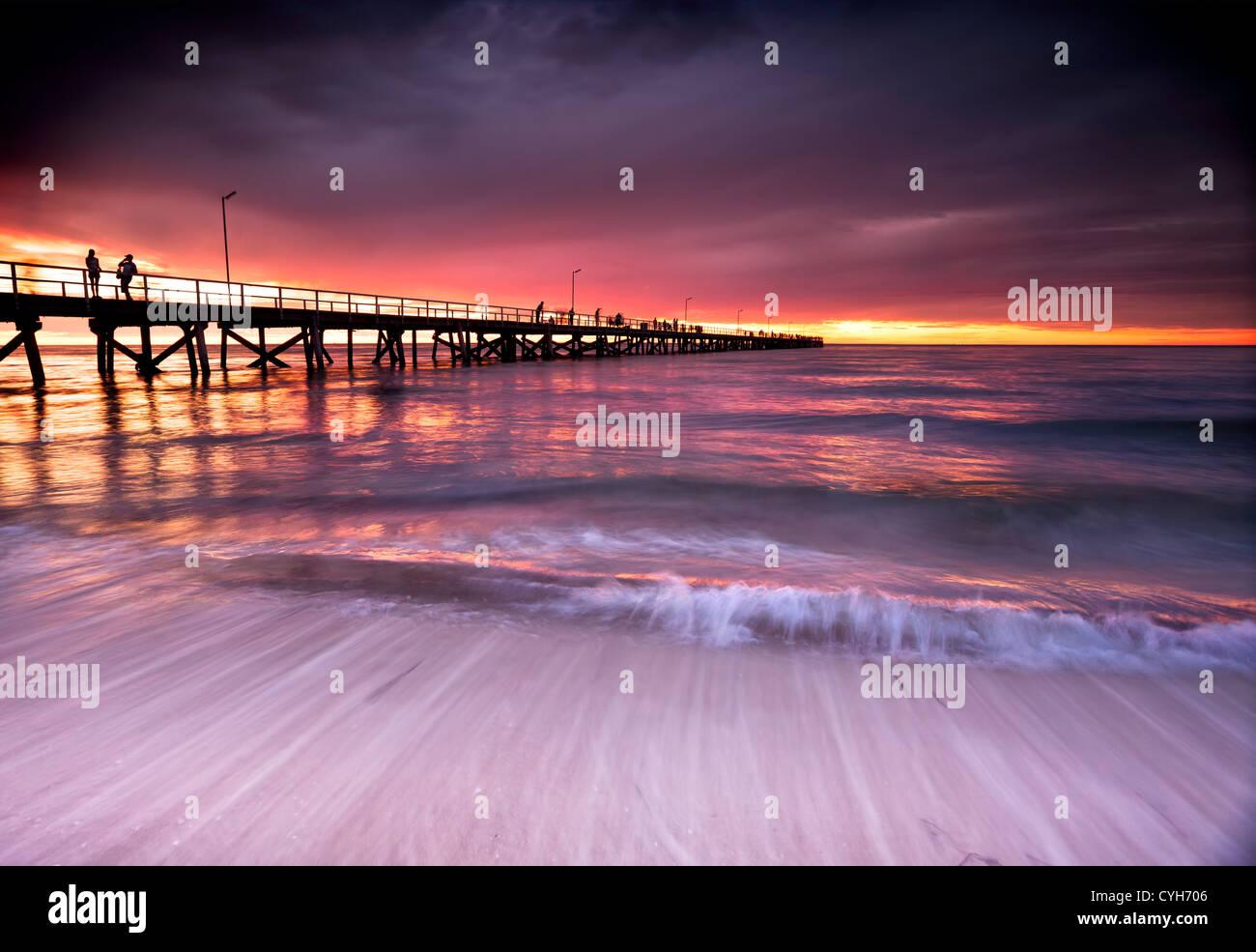 Beautiful Sunset at Semaphore Beach, South Australia Stock Photo