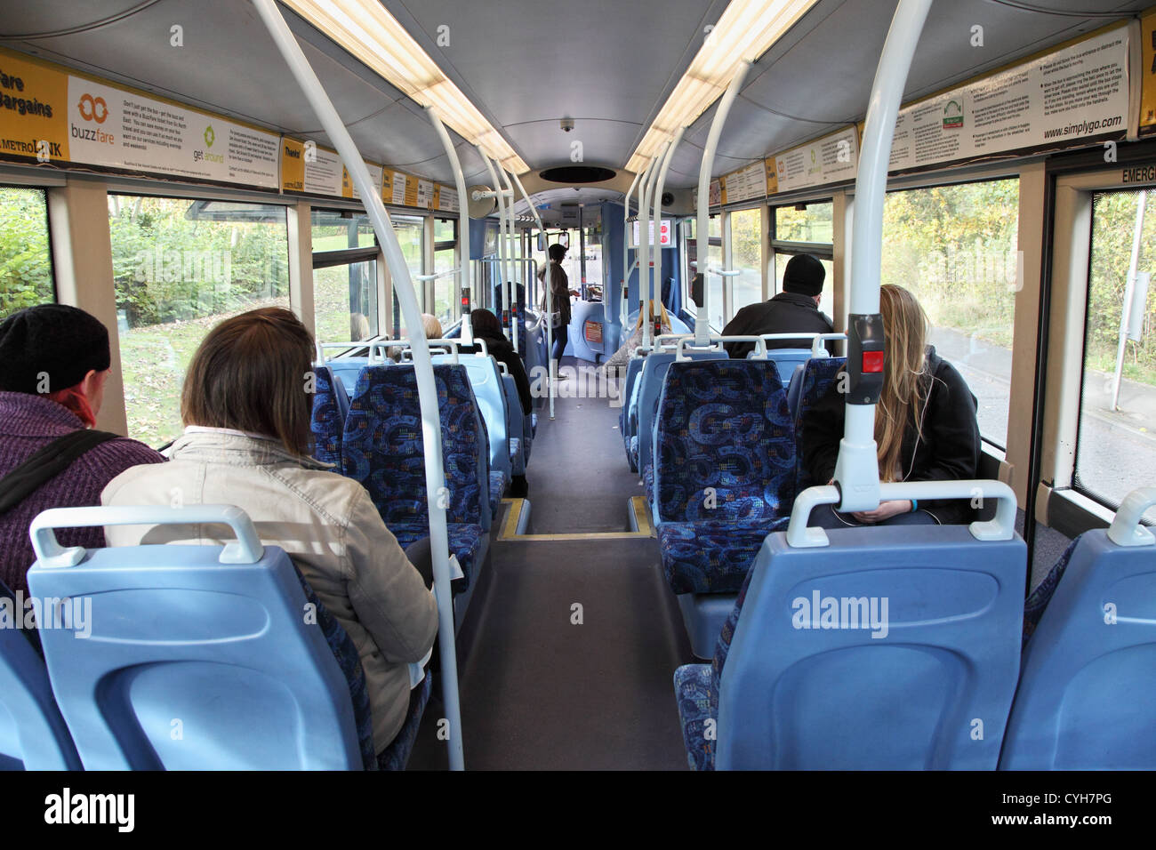 View inside single decker bus operating the Go Ahead group's Metrolink service M1 in Washington north east England - Stock Image