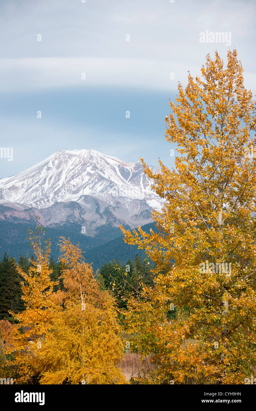 Mount Shasta in fall in the Cascade Range of mountains Siskiyou County Northern California USA - Stock Image