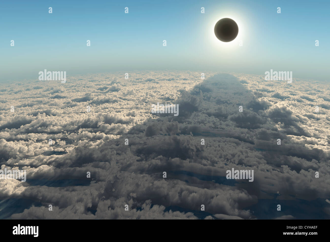 solar eclipse, aerial view - Stock Image