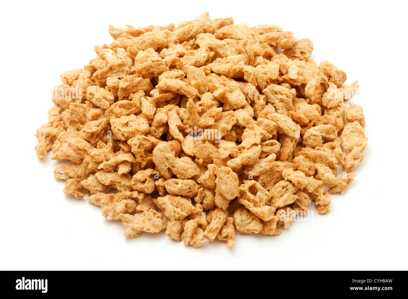 Textured vegetable protein on a white background - Stock Image