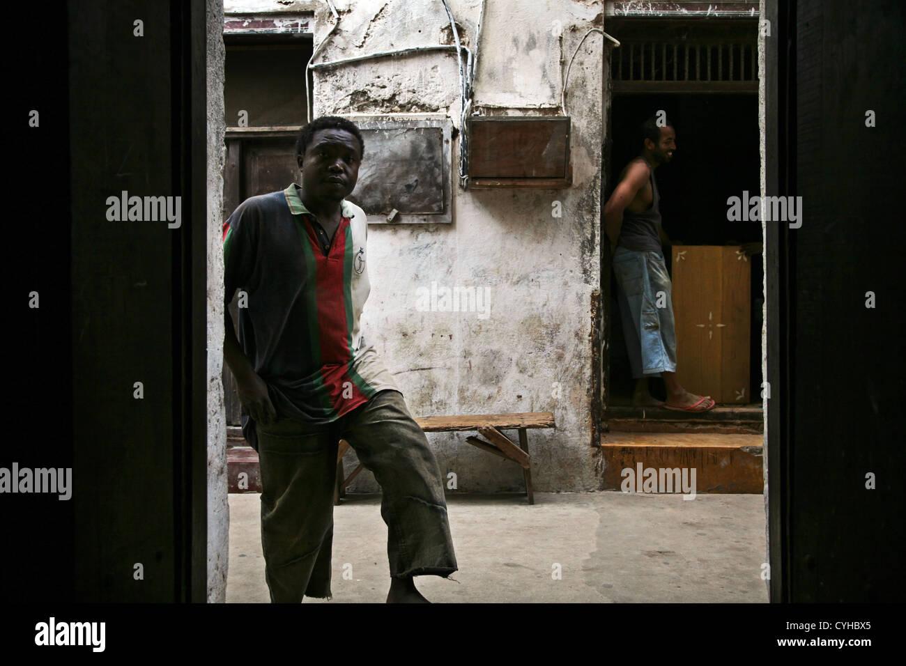 A street in Lamu Town, Lamu Island, Kenya, East Africa. Stock Photo
