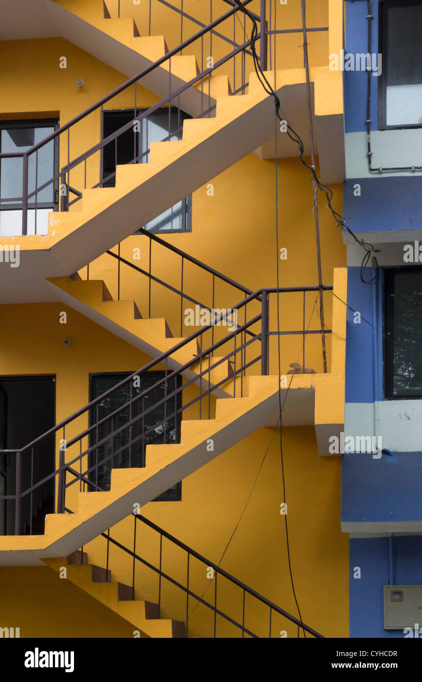 Bon Colorful Stairs Outside A Building In Cochin, Kerala India   Stock Image