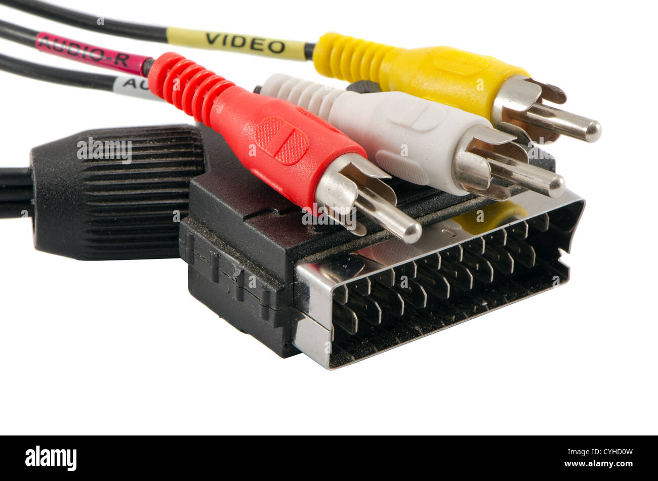 tv scart cable connector and audio video colorful tulip wires plugs rh alamy com Scart Pinout scart plug wiring diagram