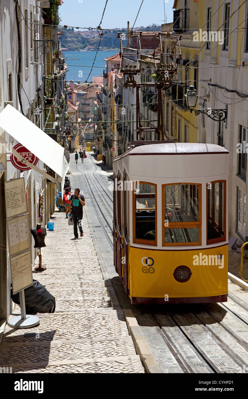 Tram on  Elevador da Bica, Rua da Bica, central Lisbon, Portugal Stock Photo