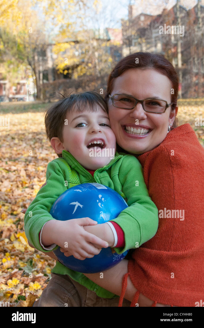 Mother and son portrait autumn - Stock Image