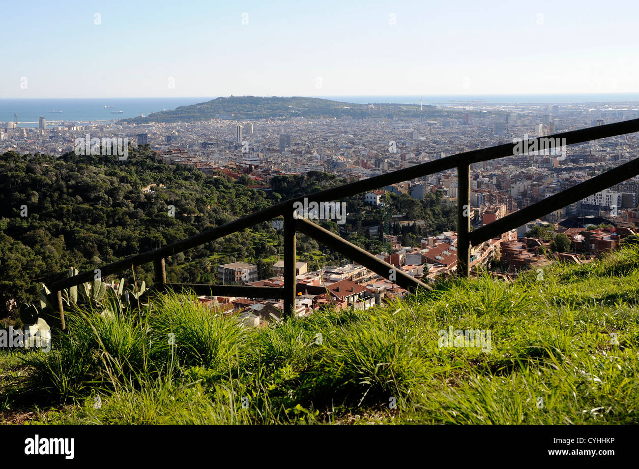 """general view of Barcelona and the mountain of Montjuic from the top of the """"parc  de la creueta del coll """". Stock Photo"""