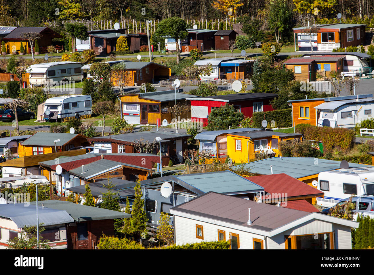 All year open trailer park in Witerberg, Sauerland, a north western region in Germany, Europe. Stock Photo