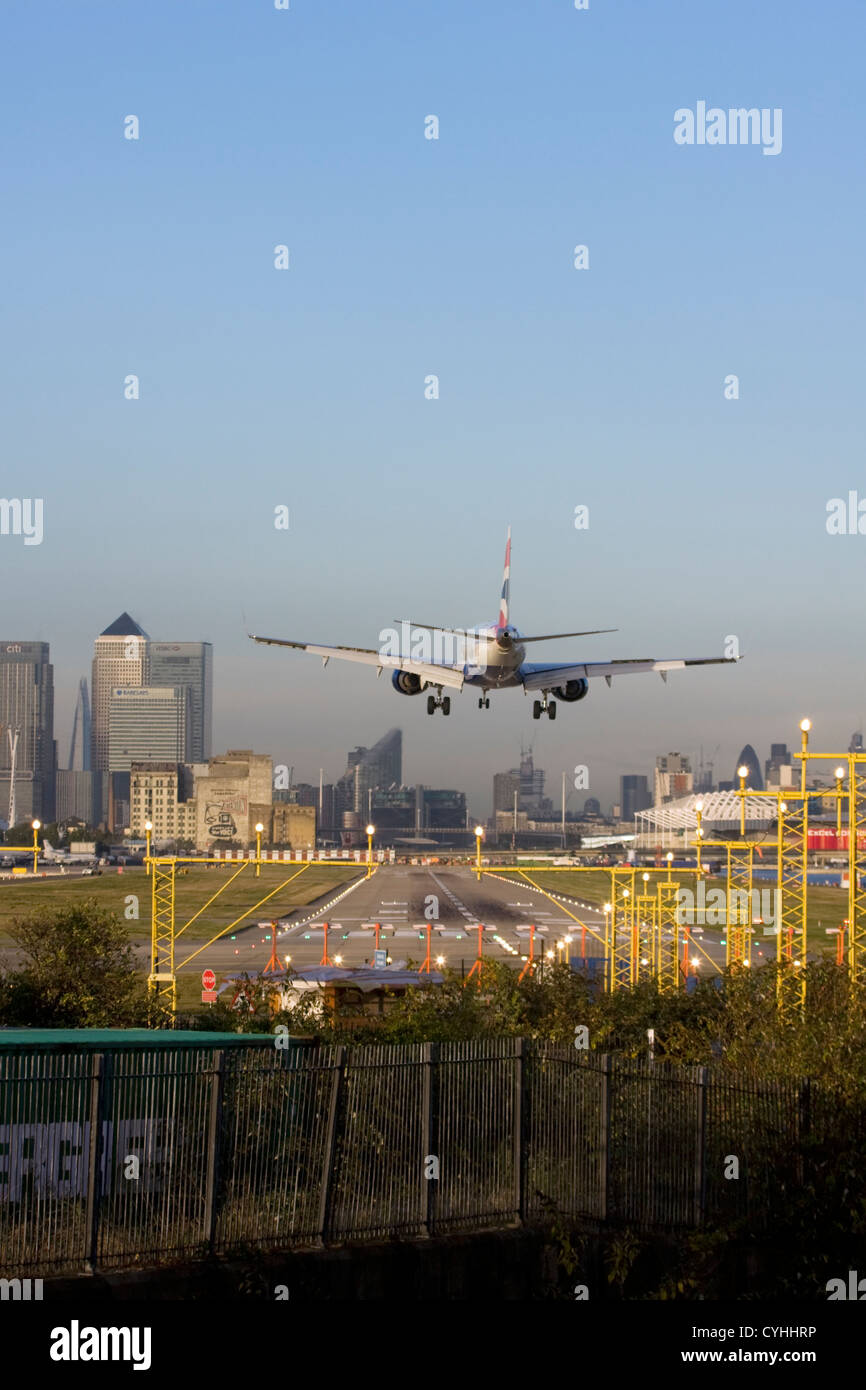 British Airways regional airliner landing at London City Airport, England, UK Stock Photo