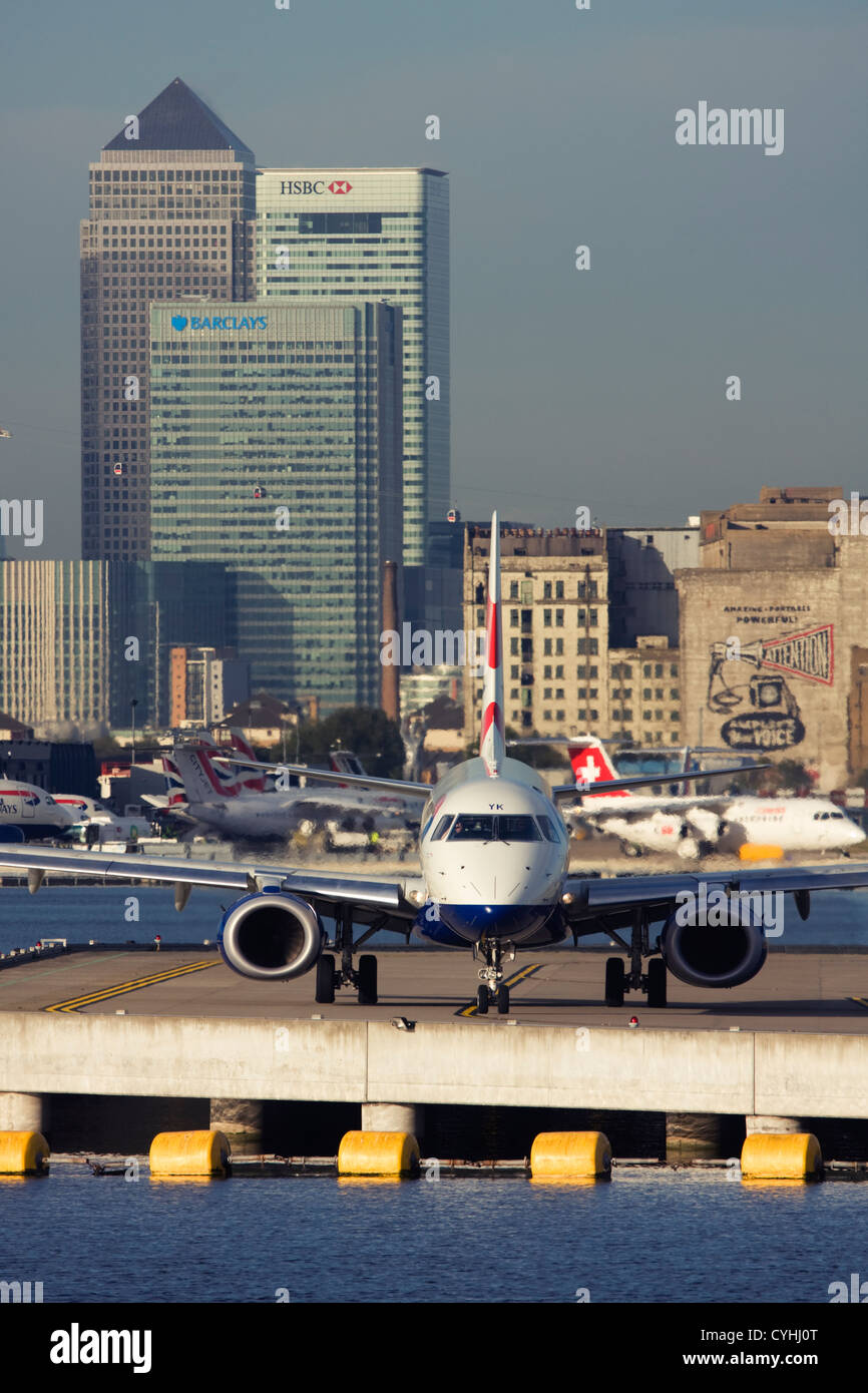 Regional airliner British Airways (BA CityFlyer) Embraer ERJ-190-100LR 190LR at London City Airport, England, UK - Stock Image