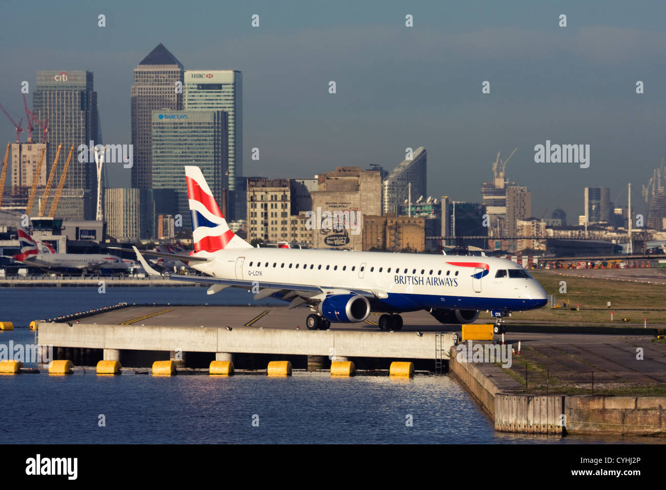 Regional airliner British Airways (BA CityFlyer) Embraer ERJ-190-100LR 190LR at London City Airport, England, UK Stock Photo